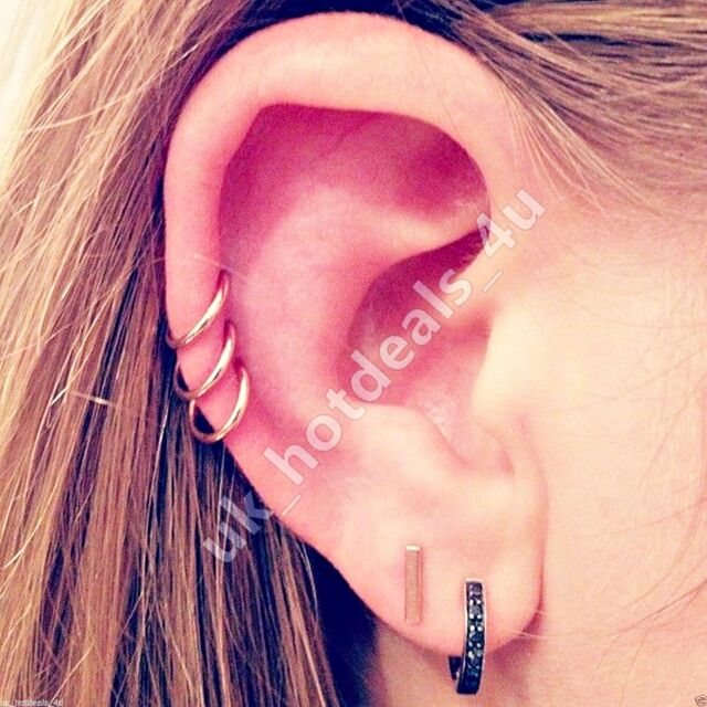 Silver Hoop Sleeper Earrings 6 8 10mm Cartilage Piercing Ring Helix Rook Earring