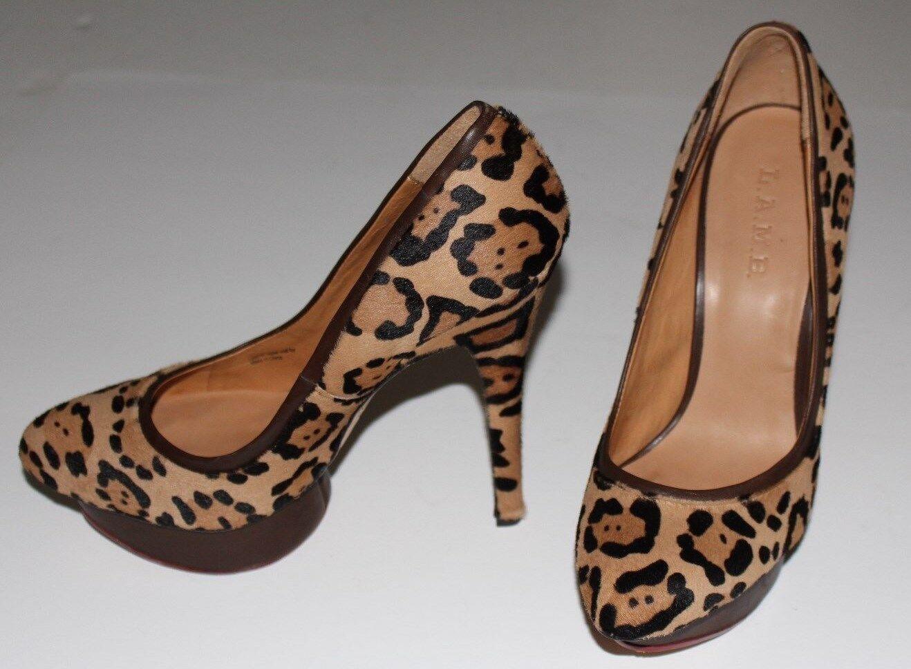 L.A.M.B.8.5 M Leopard Calf Hair Pumps braun Leather 1.25 1.25 1.25  Platform 5.5 Heel  325 2ebe97