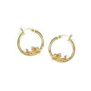 Image Is Loading 14k Yellow Gold Angels Hoop Earrings Ejer23524