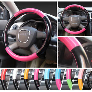 Genuine 38cm M Universal Pink PU Leather Stitching Steering Wheel Cover