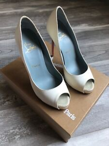 new product 0481f 15aae Details about Christian Louboutin 37 New Very Prive 120mm Crepe Satin