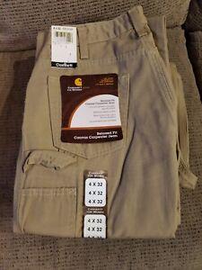 Nuevo Carhartt Relaxed Fit Carpintero Jeans Pantalon Caqui De Lona Para Mujer Talla 4 X 32 Ebay