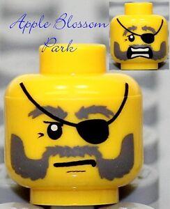 NEW Lego Male MINIFIG HEAD Pirate w/Black Eye Patch Gray Beard - Castle/Kingdom<wbr/>s