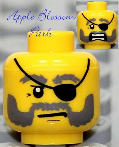 Castle//Kingdoms NEW Lego Male MINIFIG HEAD Pirate w//Black Eye Patch Gray Beard