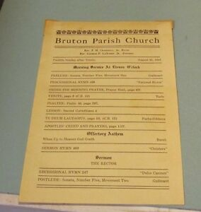 1941 bruton parish church service program historical notes