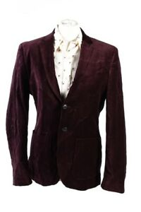 Vintage-H-amp-M-Soft-Velvet-Jacket-Stylish-Smart-Blazer-Size-46-Bordeaux-C1635