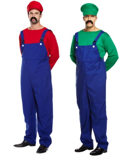 Mens Adult Super Mario AND Luigi Plumber 80s Couples Fancy Dress Costumes Outfit