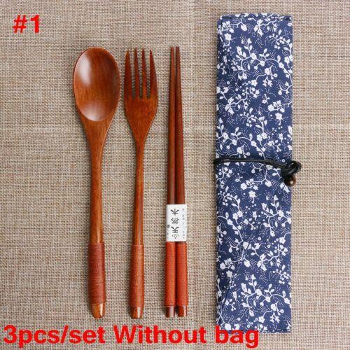 Japanese Style Cutlery Set Spoon Fork Chopsticks  Natural Wooden Cloth Bag