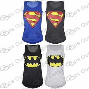 Womens-Batman-Superman-Ladies-Superwoman-Girls-Comic-Hero-T-Shirt-Tank-Top-Vest