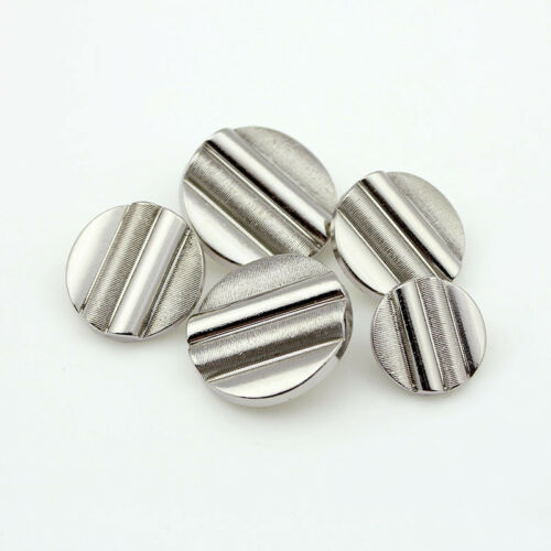 12PCS Metal Round Three-dimensional Bar Shank Buttons Silver Fashion 18 21 25 mm