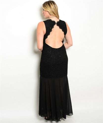 Womens Plus Size Black Lace Sleeveless Evening Gown Maxi Dress 3XL NWT