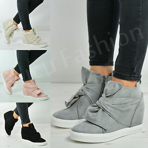 d136d3bb5079 New Womens Ladies Bow Wedge Trainers Side Zip Sneakers Casual Shoes ...