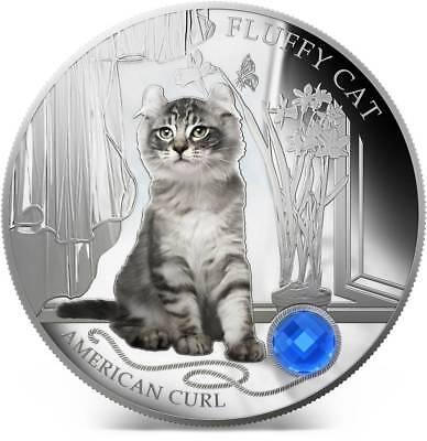 "GEM STONE  1Oz Silver Coin Fiji 2013 2$ /""Dogs /& Cats/"" Cat AMERICAN CURL"