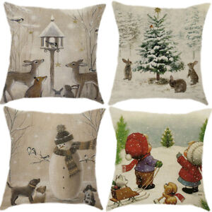"""18/"""" Christmas Snowman Cotton Linen Home Décor Throw Pillow Case Cushion Cover"""
