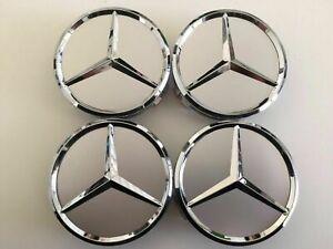 4x-75mm-Silber-Radmitte-Radkappe-Abzeichen-Emblem-Felgenabdeckung-Mercedes-Benz