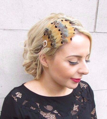 Green Beige Brown Pheasant Feather Fascinator Headband Races Hair Headpiece 4141
