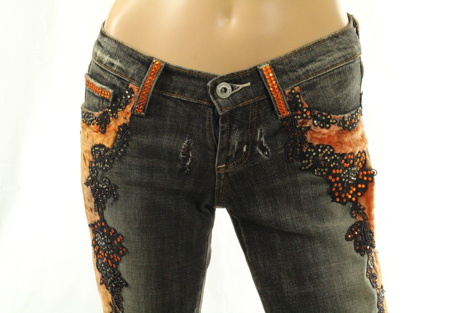 Claudio Milano Women's Jeans Swarovski Crystal Lace Embellished Size 26     1200