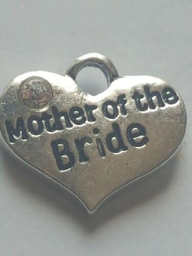 """1 o 4 /""""madre de novia/"""" Plata Tibetana Rhinestone corazón encanto tema de la boda"""