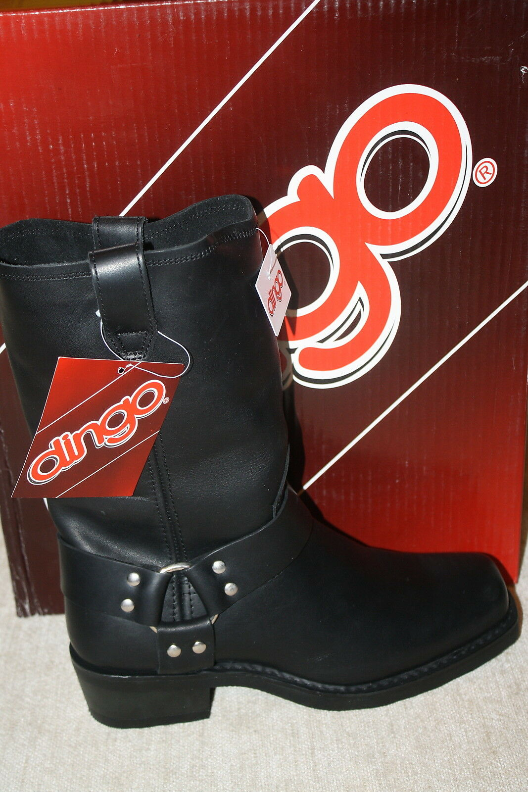 WOMENS DINGO BLACK HARNESS MOTORCYCLE BOOTS D107370~SIZES IN LISTING (B456)