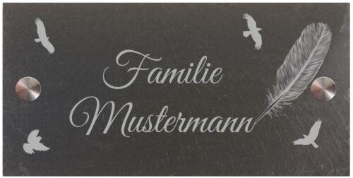 Hausnummer Türschild Namensschild Schiefer Gravur 40x20 cm #0062