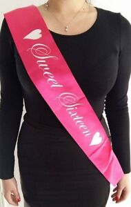 Sweet-Sixteen-Hot-Pink-Satin-Sash-for-Girl-16th-Birthday-Party-Fast-Postage