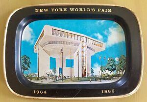 New-York-WORLDs-FAIR-1964-1965-Metal-Tin-Tray-HELIPORT-Restaurant