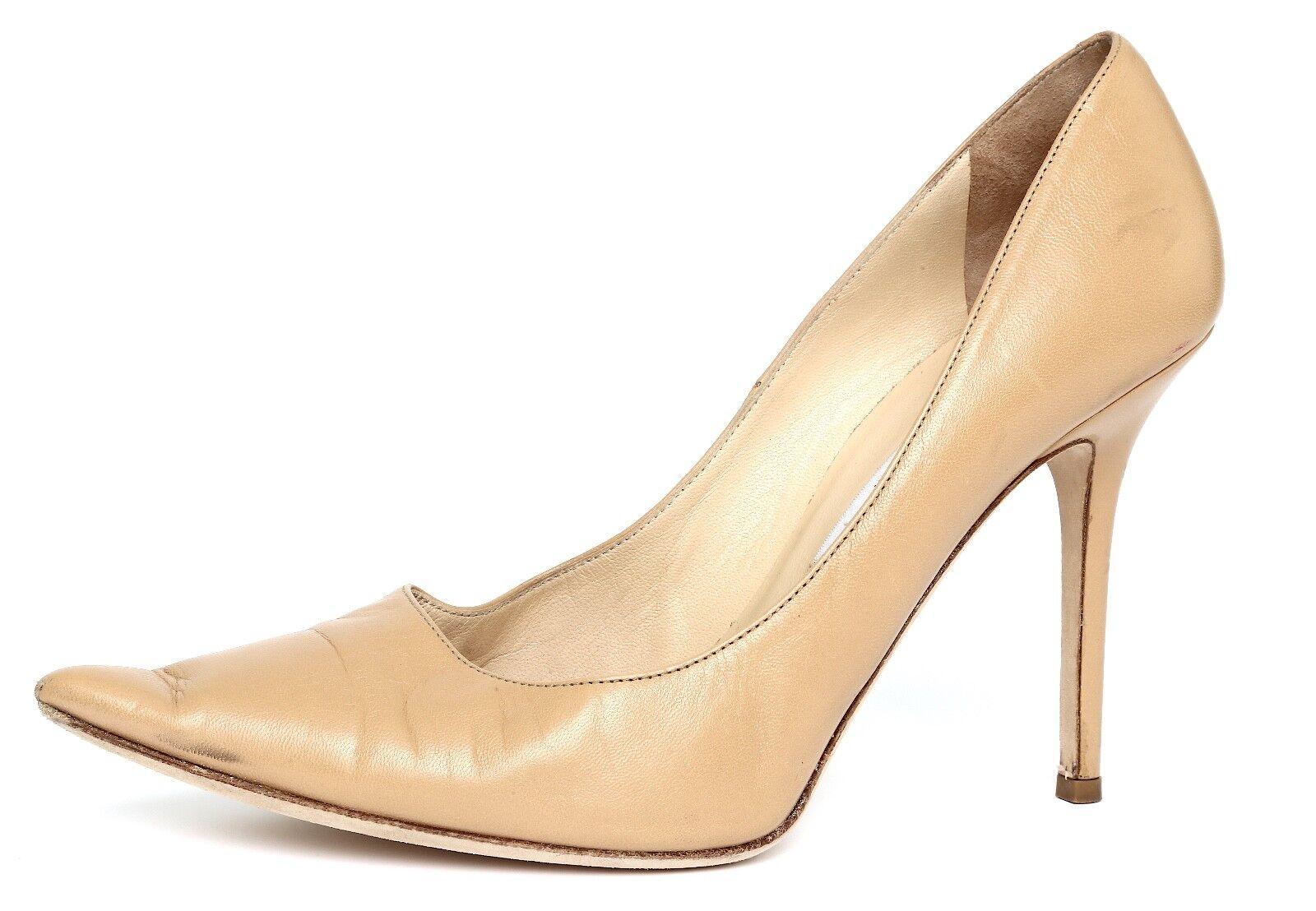 negozio di sconto Jimmy Jimmy Jimmy Choo Donna  Beige Pointed Toe Leather Pumps Sz 39.5 EUR 7441  negozio online
