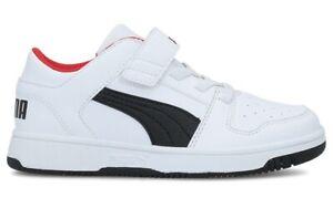 PUMA-REBOUND-LAYUP-LO-PS-scarpe-bambino-bambina-sportive-sneakers-pelle-strappo