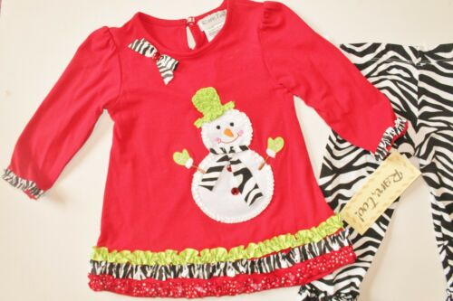 NWT Girl 2T-4T Snowman Tunic Top Zebra Ruffle Leggings Winter Outfit Clothes
