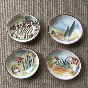 Set-of-4-Plates-Williams-Sonoma-5-5-034-oval-Each-Italian-Countryside-Scenes