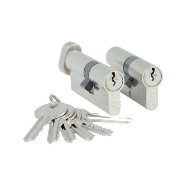 2x gleichschliessend Knauf + Zylinder Profi Tür Schloss kombinieren 6 Schlüssel