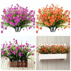 Artificial Flowers Fake Plant Outdoor Faux Floral Greenery Shrubs Plants Decor Ebay