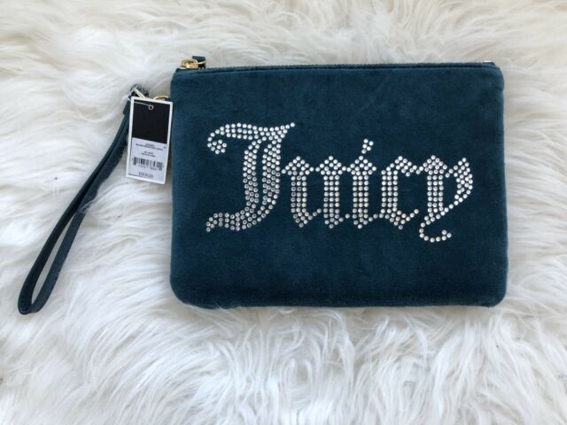 """NWT Juicy Couture Purse Med Turquoise Wrist-let With Rhinestone 9"""" Velvet$228"""