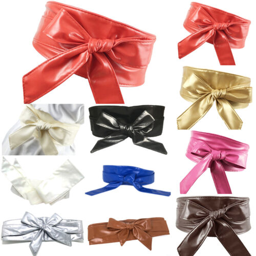 Womens Leather Belt Wrap Casual Waistband Self Tie Bowknot Around Sash Wide Band