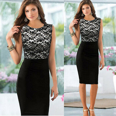 Women Dress Sexy Slim Lace Sleeveless Bodycon Cocktail Party Pencil Dress Summer