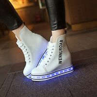 Womens Lace Up LED Light Up High Top Thick Sole Hidden Heel Sneakers Shoes H31