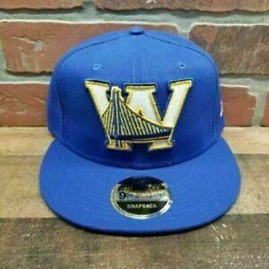 New-Era-9FIFTY-NBA-Golden-State-Warriors-High-Crow-Men-039-s-Blue-Snapback-Cap