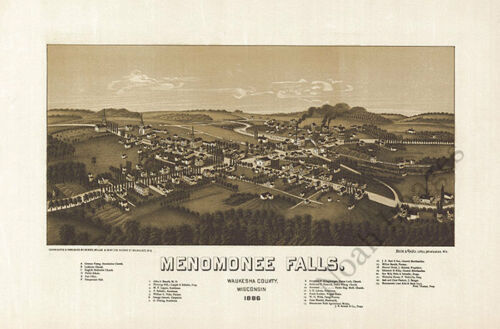 Menomonee Falls WI panorama c1886 map 18x12