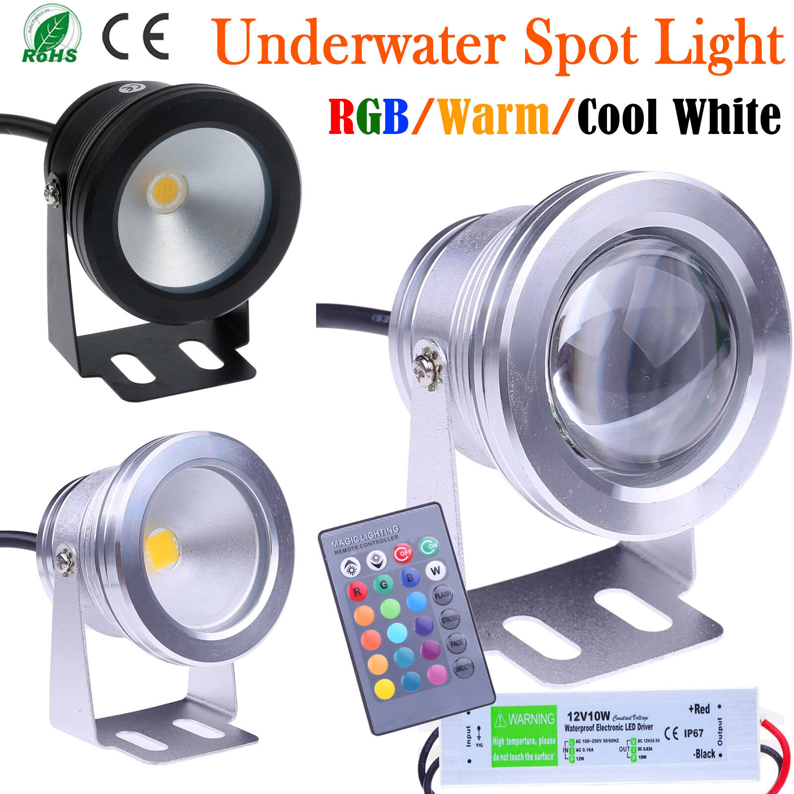 10W LED Underwater SpotLight RGB Cool Warm Garden Founta Pond Lamp