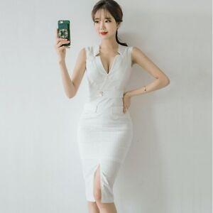 size 40 ff296 d61e4 Dettagli su Elegante raffinato vestito abito donna lungo tubino elegante  bianco slim 3601