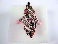 Anello Rotgold 375 con rubini, safiren e diamanti