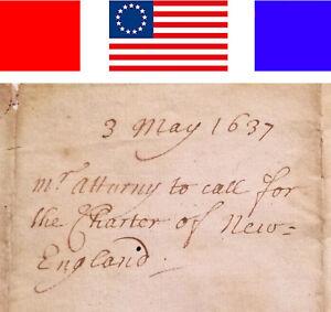 1637-ANTIQUE-MANUSCRIPT-CHARTER-OF-NEW-ENGLAND-Patriotic-ALS-Colonial-Americana