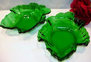 Forest-Green-by-Anchor-Hocking-Leaf-Dishes