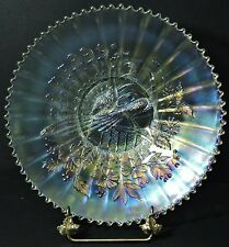 NORTHWOOD PEACOCKS ON THE FENCE WHITE CARNIVAL GLASS PLATE **