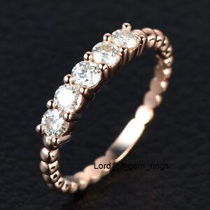 Moissanite Wedding Band Anniversary Ring 14k Rose Gold 3mm Round Cut