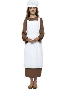 GIRLS-VICTORIAN-TUDOR-MAID-FANCY-DRESS-COSTUME-EDWARDIAN-WHITE-HAT-APRON-OUTFIT