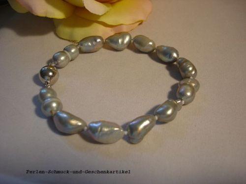 regalo Pulsera barroco en Tahití-gris con auténtica perlas 19cm cierre magnético