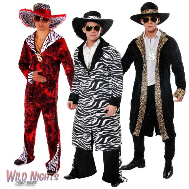 60s 70s BIG DADDY PIMP RAPPER GANGSTER FANCY DRESS COSTUME MENS WITH HAT