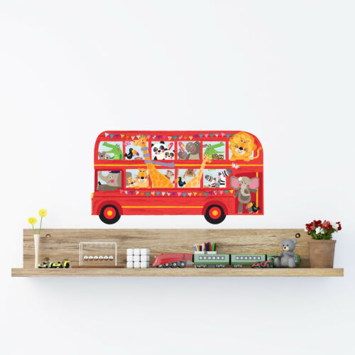 Decowall Transports Double Decker Bus with Animals Wall Stickers Decal DA-1710C