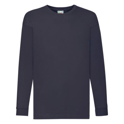 Fruit Of The Loom Kids Long Sleeve Plain T-Shirt Casual School Regular Tee TOP